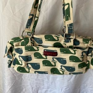 Canvas whale print bag   Matching wallet